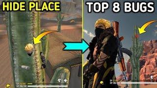 Top 8 Trick In Free Fire Battleground | Free Fire Kalahari hide place | Free Fire Bug | Ni Gaming
