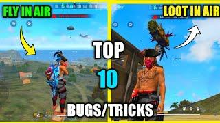 Top 10 Latest New Bugs/Glitches And Tricks In Free Fire | New Fly In Air Bug In Bermuda Free Fire