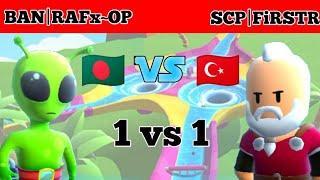 Stumble Guys Bangladesh top 10 vs Turkey top 5 || 1 vs 1 || Super Slide || Space Race | Rafsan Playz