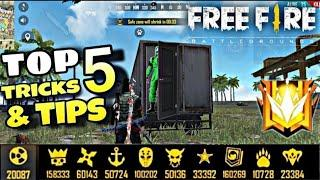 Free fire top 5 tips and tricks in free fire || How to push rank in free fire || top 5 tips for Pro|