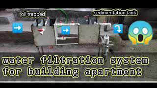 water filtration system for building apartment | oil trap | sedimentation | activated charcoal