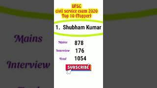 UPSC Civil Service Exam 2020 Top 10 (Toppers) #shorts #upsc2020result