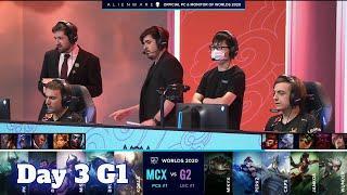 MCX vs G2 | Day 3 Group A S10 LoL Worlds 2020 | Machi Esports vs G2 eSports - Groups full game