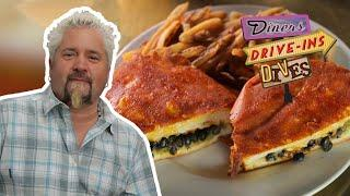 Guy Fieri Eats an INSIDE-OUT Grilled Cheese on #DDD | Food Network