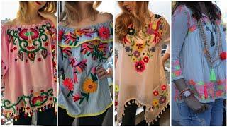 Super Stylish And Gorgeous American Style Hand Embroidered Chiffon Tunic Top Designs Ideas