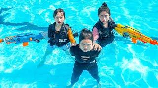 XGirl Nerf War: Top 10 Cherry and SEAL X Girl Nerf Guns Criminal groups at Swimming Pool