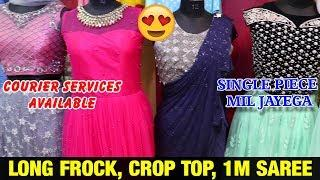 Long Frocks, Crop Top, 1min Sarees  || Party wear Readymade Dress || Order from home