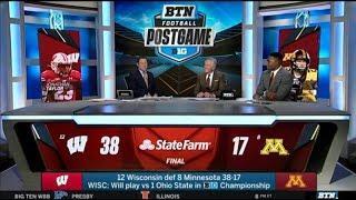 Glen Mason reacts to 12 Wisconsin beat 8 Minnesota 38-17, WISC will play vs Ohio in BIG Championship