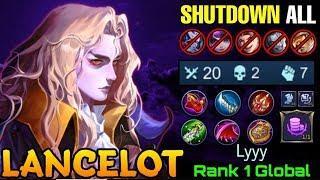 20 Kills Lancelot Shutdown All META Heros - Top 1 Global Lancelot Lyyy - Mobile Legends