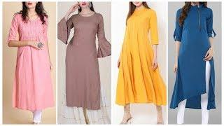 Top 10 plain kurti with straight cut palazzo design ideas,classy party simple kurti designs
