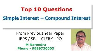 Top 10 Simple Interest and Compound Interest from Previous Year Paper (IBPS/SBI)