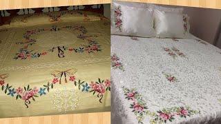 Hand Embroidery : Handmade work bedsheets designs / top class hand embroidered bedsheets design
