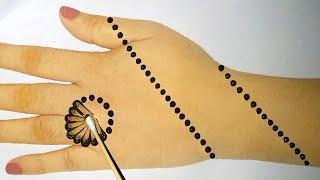 Easy Simple Mehndi design - cotton bud Mehendi design front hand - Arabic Mehndi Design 2020