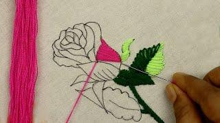 Rose Embroidery is the best embroidery work by hand to practice needlework for beginners