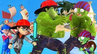 Scary Teacher 3D - NickHulk vs Giant Zombies on the Island - Best Troll Nick and Tani Fun Animation