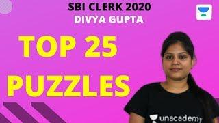 Top 25 Puzzles (Part-3) for SBI Clerk & RBI Assistant 2020 by Divya Gupta