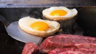 계란후라이 스테이크 / fried egg with beef steak / korean street food