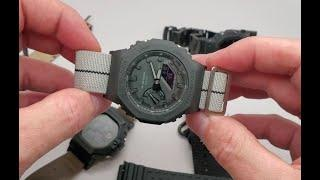 How to change strap band on Casio GShock GA2100 Carbon Core Guard and JaysAndKays Adapters NATO ZULU