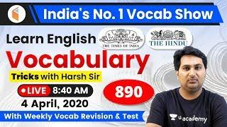 8:40 AM - English Vocabulary | Learn English Vocabulary Tricks with Harsh Sir | Day #890