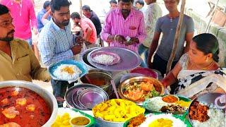 Hard Working Aunty Roadside UNLIMITED Non Veg Meals @60rs || Indian Street Food
