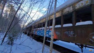 Climbing Aboard Old Abandoned Train Far North Country USA