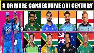 Cricketers Who Have Scored 3 Or More Consecutive ODI Century | Back To Back 3 Century | Rohit Sharma