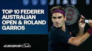 Top 10 Roger Federer's shots | Australian Open & Roland Garros | Tennis | Eurosport