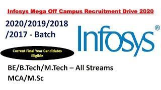 Infosys Mega Off Campus Recruitment Drive 2020 | Infosys Off Campus Placement Drive | Across India