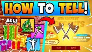 ALL PRESENTS FORTNITE + HOW TO TELL WHICH is WHICH! - Winterfest Presents/Rewards in Battle Royale