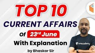 Current Affairs 2020 by Bhaskar Sir | Top 10 Current Affairs Questions | 23 June 2020