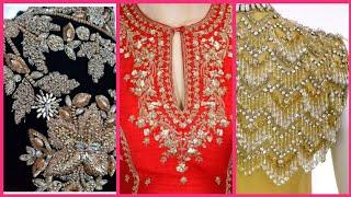 Top10! Very Beautiful And Stylish Fancy Embroidery designs for Dresses // Pearl work / Zardosi work