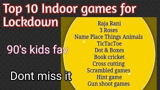 Top 10 Indoor games|Lockdown Indoor games|90's kids games