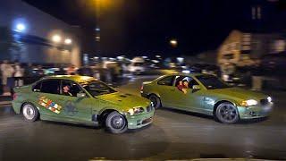 Tandem Street Drifting in a STORM!