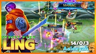Ling Perfect MANIAC with New Skin | Street Punk Ling Gameplay | Top Global Ling by Aaleeyah ~ MLBB