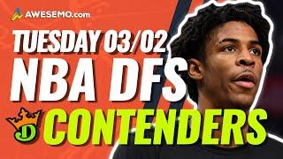 DRAFTKINGS NBA DFS PICKS TODAY | Top 10 ConTENders Tue 3/2 | NBA DFS Simulations