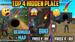 TOP 4 NEW HIDDEN PLACES IN FREE FIRE || NEW HIDDEN PLACE IN FREE FIRE || BERMUDA MAP - 2020 ||