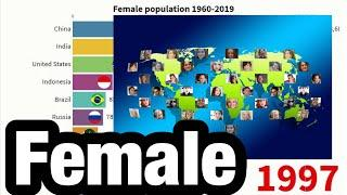 TOP10-Country-Ranking「population,Female 1960-2019」