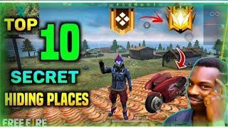 TOP 10 SECRET HIDING PLACE IN FREE FIRE | TOP 10 SECRET PLACE FOR RANK PUSH