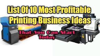 List Of Top 10 Printing Business Ideas   Low Investment business