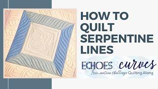 Machine Quilting Serpentine Lines: Echoes and Curves Free-motion Challenge Quilting Along