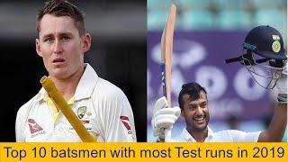 Top 10 batsmen with most Test runs in 2019
