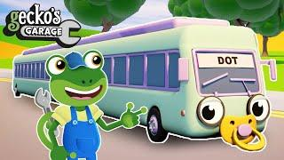 STRETCHING Baby Buses | Gecko's Garage | Truck Cartoons For Children | Bus Videos For Kids